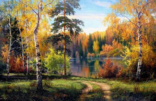 живопись осень пейзаж: