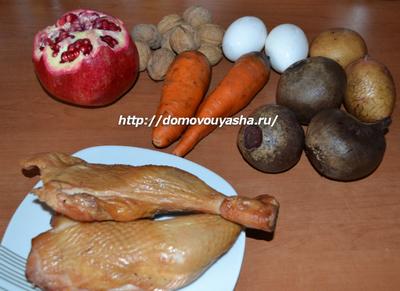 салат гранатовый браслет с капченой курицей рецепт