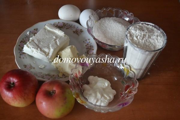 творожный пирог с яблоками рецепт