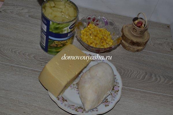 Салат с курицей сыром и ананасом рецепт