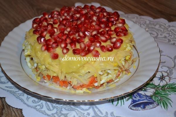Салат красная шапочка с гранатом рецепт с фото