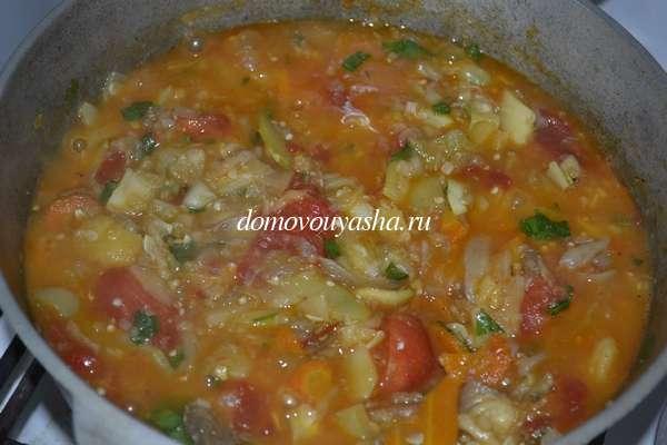 Овощное рагу картошка кабачки баклажаны помидоры