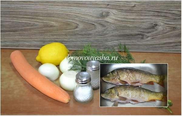 Карп запеченный с овощами в духовке