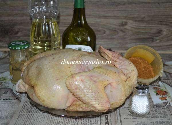 Маринованная домашняя курица в духовке с картошкой