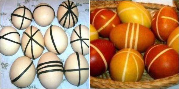 Яйца крашенные в луковой шелухе с рисунком