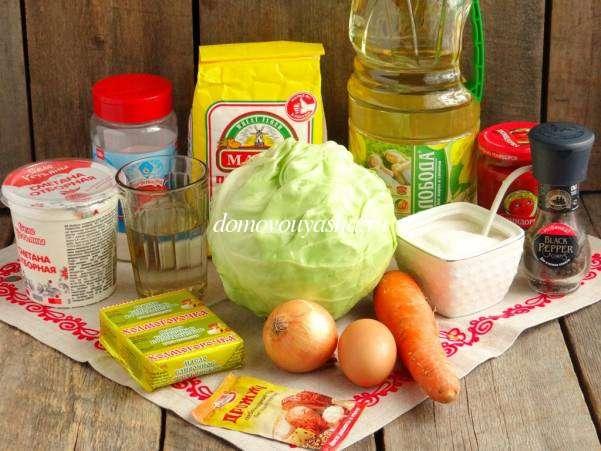 пирожки из бездрожжевого теста в духовке с капустой