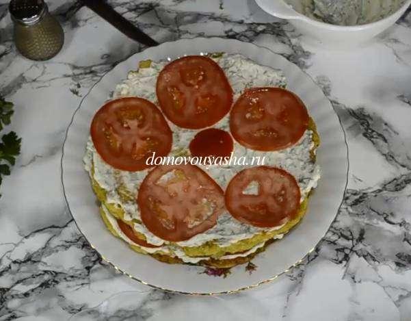 Вкуснейший торт из кабачков с помидорами