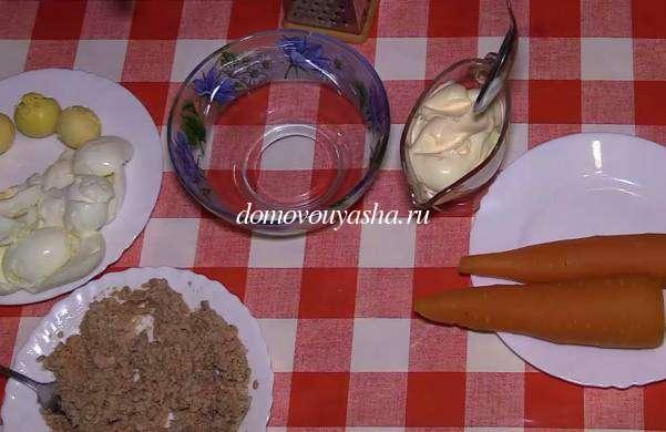 Мимоза с печенью трески