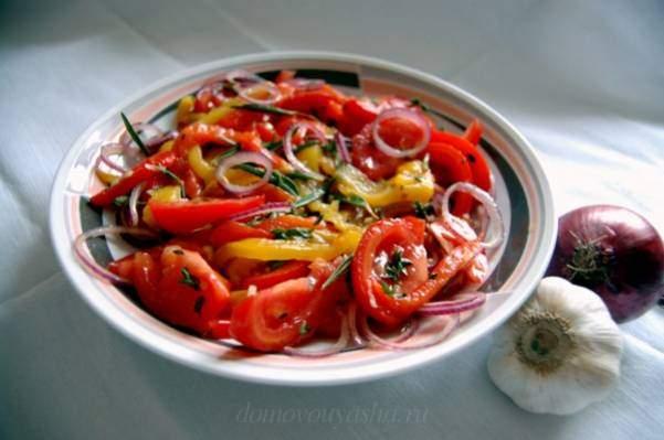 Рецепт салата из помидоров и печеного перца