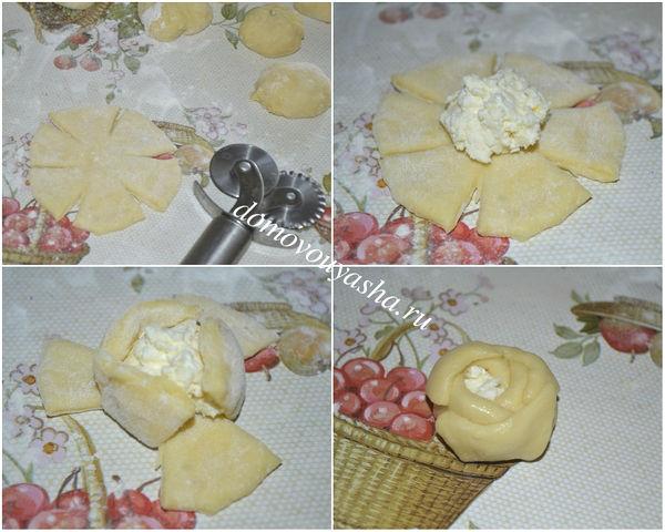 Булочки-розочки с творогом, пошаговый рецепт с фото