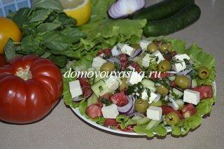 Салат греческий с брынзой рецепт с фото
