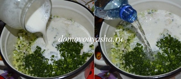 окрошка на кефире и минеральной воде