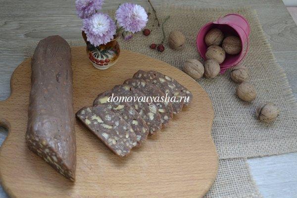 Шоколадная колбаска со сгущенкой фото