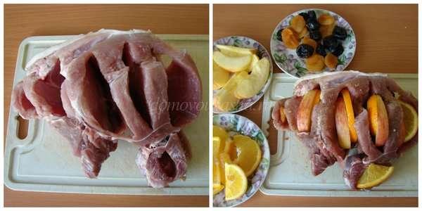Мясо с черносливом и яблоками в духовке