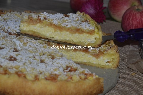 Пирог из песочного теста с творогом рецепт с фото