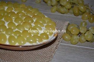 Салат виноград, курица, сыр, грецкие орехи