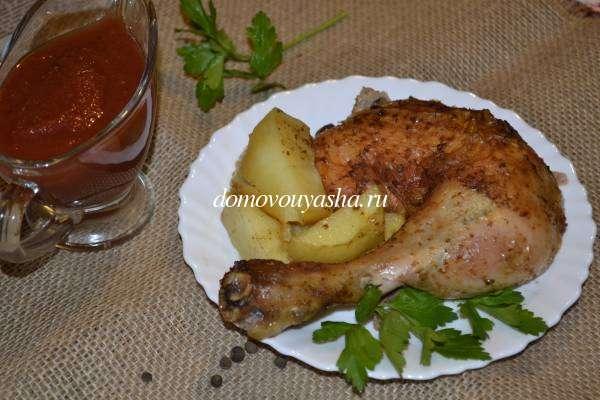 Домашняя курица в духовке с картошкой