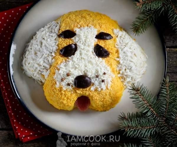 Салат Собака с колбасой