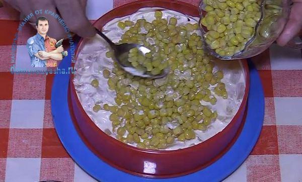 Салат с ананасом ветчиной и кукурузой