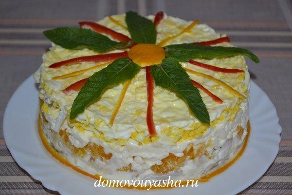 Салат апельсин курица