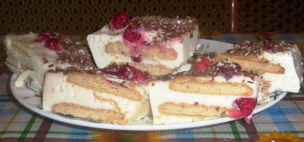 Творожный торт суфле с вишней