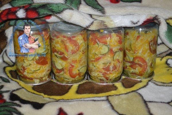 Кубанский салат на зиму с капустой