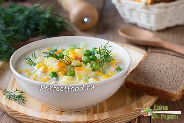 Суп с горошком и кукурузой