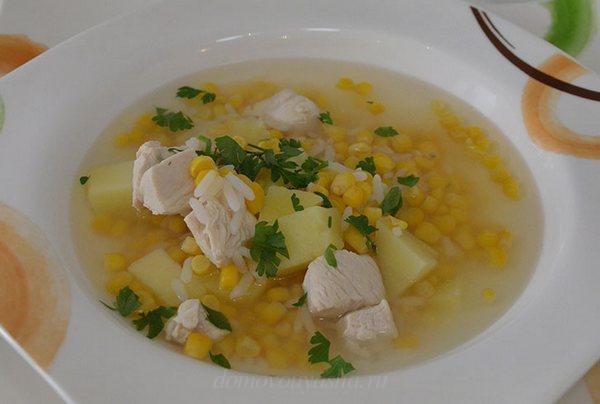 Суп куриный с кукурузой консервированной