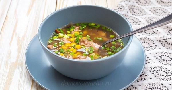 Суп из кукурузы с копченым куриным мясом