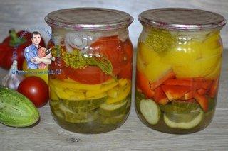 Салат слоями огурцы помидоры лук перец на зиму