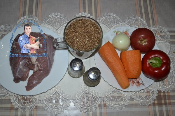 Гречка с мясом и овощами в казане