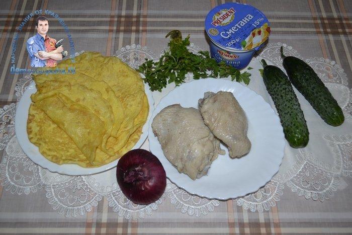 Салат Загадка с яичными блинчиками и курицей