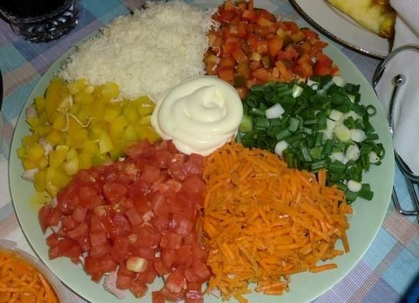 Салат Радуга с кукурузой