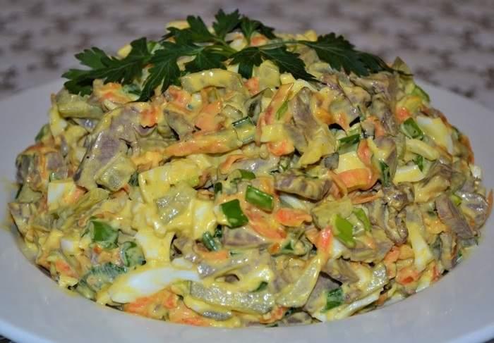 Салат из свиного сердца с морковью