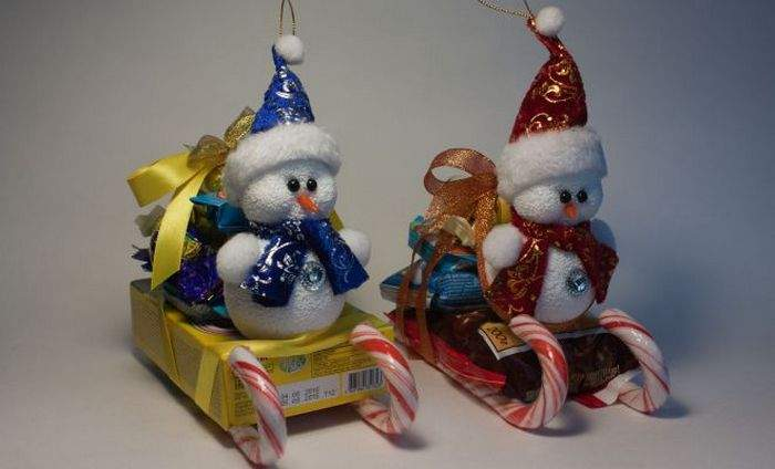 Снеговик из конфет