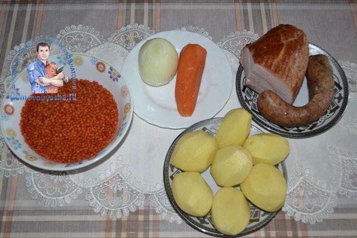 Суп из красной чечевицы с копченостями