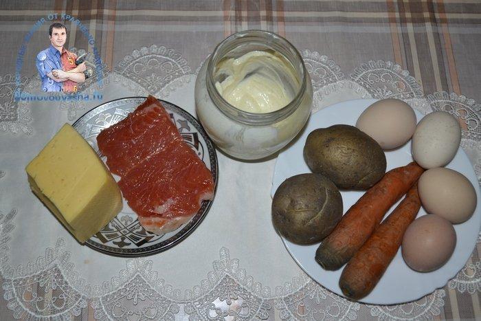 Салат Мимоза с семгой слабосоленой и сыром