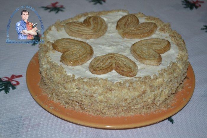 Торт без выпечки Наполеон из печенья ушки