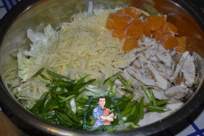 Салат с пекинской капустой, курицей и мандаринами