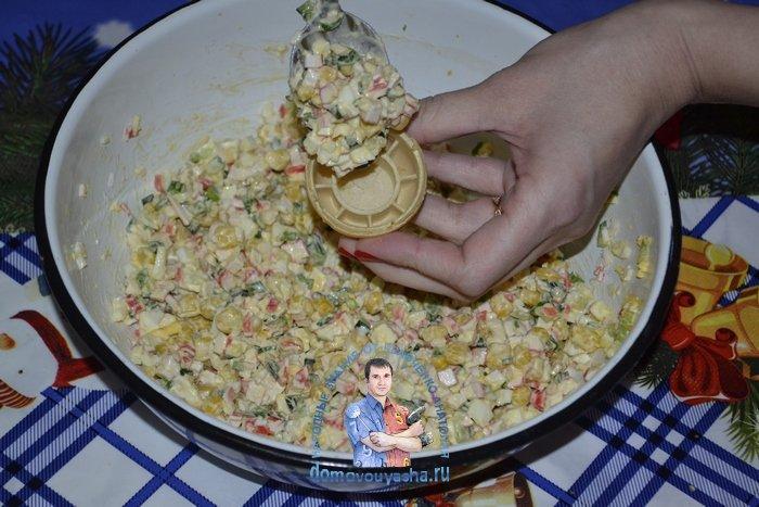 Вафельные тарталетки с крабовыми палочками