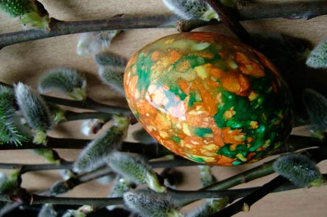 Яйца мраморные с зеленкой