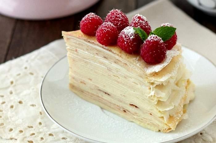 Вкусный блинный торт с заварным кремом