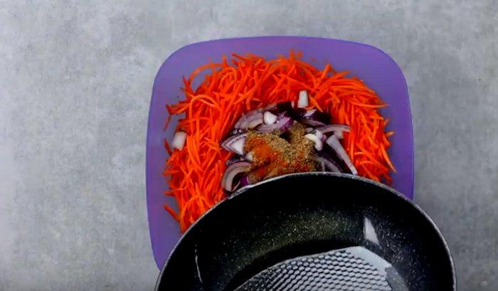 Шампиньоны маринованные по корейски с морковью