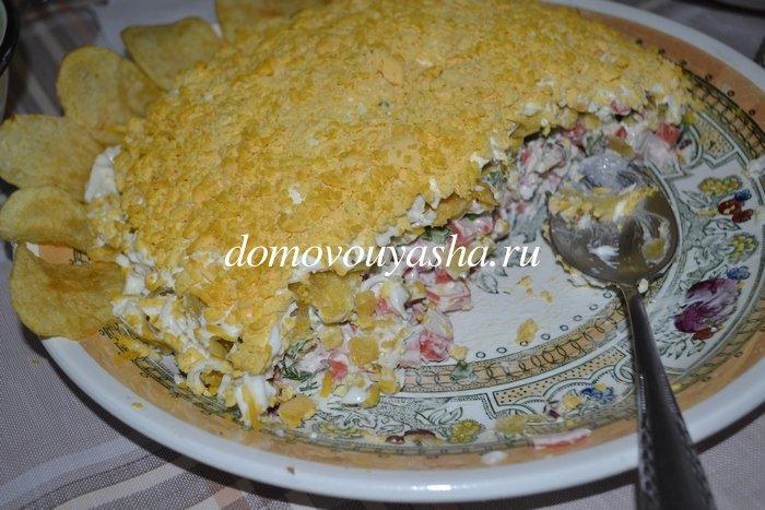 Салат подсолнух с крабовыми палочками