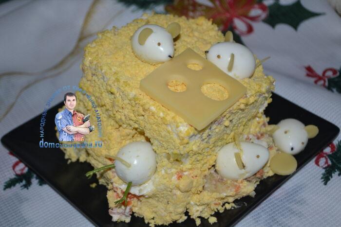 Новогодний салат мышки с перепелиными яйцами