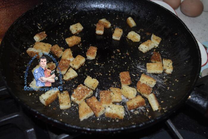 как сделать чесночные сухарики для цезаря