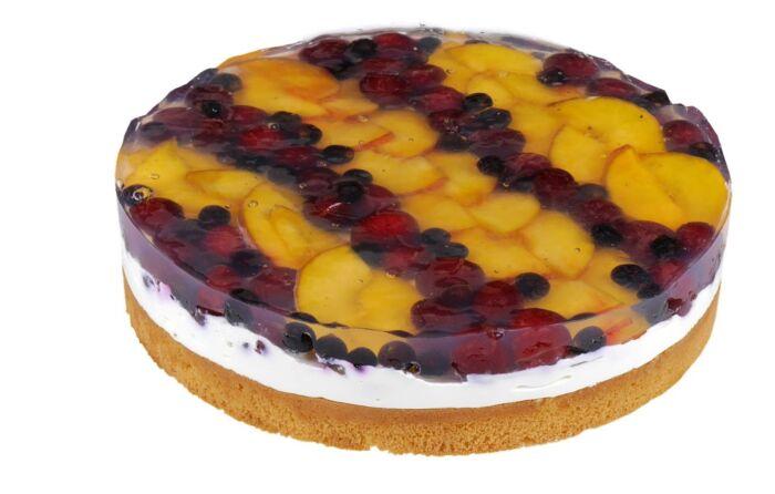 Фруктовый желейный торт с бисквитом