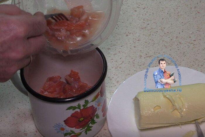 Намазка из красной соленой рыбы и масла