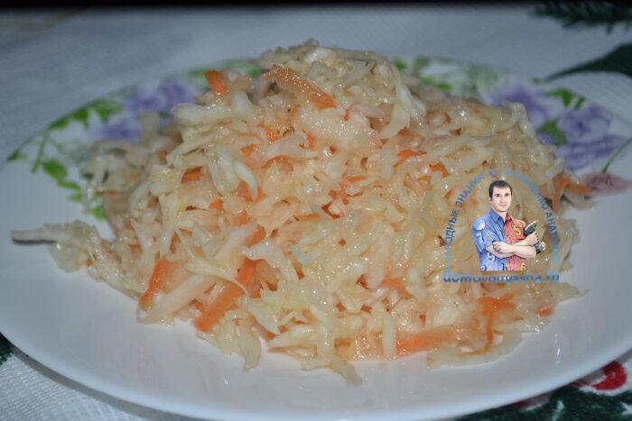 Салат из капусты с уксусом сахаром и морковью