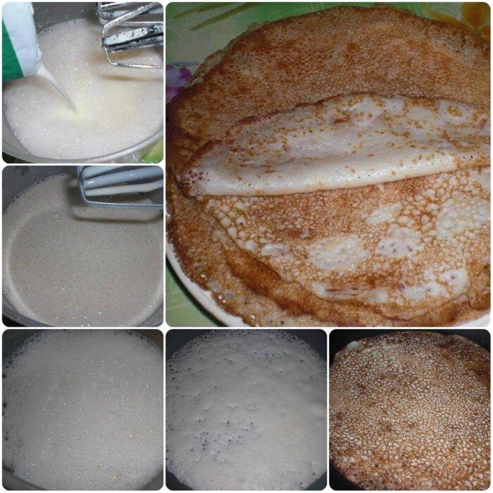 Заварные тонкие блины на кефире и молоке с дырочками